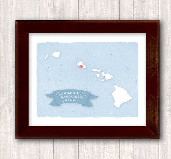 HAWAII art print - Family name Home decor - Custom text Wedding gift Bridal shower gift Housewarming gift Larger for wedding guest book