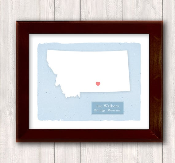 MONTANA family info art print - Personalized - Custom text Wedding gift Bridal shower gift Housewarming gift  Larger for wedding guest book