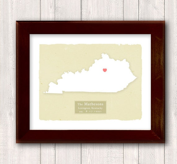 KENTUCKY art print- Family history Home decor - Custom text Wedding gift Bridal shower gift Housewarming gift  Larger for wedding guest book