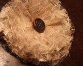 Beige Lace Flower Hair Clip with Vintage Button