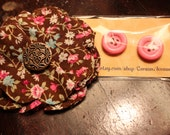 Floral Patterned Hair Clip & Pink Button Earrings Gift Set