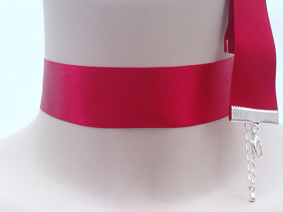 Classic PRIMARY RED Double Satin Wide 25mm/1inch  Ribbon Necklace - wa...or choose black, white, blue, purple, pink etc., hand made to order