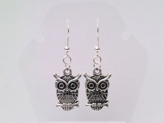 Tibetan Silver OWL Charm Silver Plated Ear Wire (or clip ons) Dangle Earrings - bi