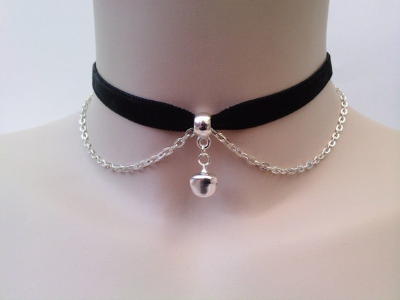 Mini Silver Plated JINGLE BELL With Chain BLACK Velvet Ribbon Choker Necklace -ma... or choose another colour velvet :)