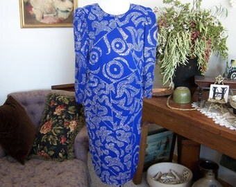 Evening Gown , Cracked Ice Cocktail Dress , 1980s Designer Patra 12 Classy Sexy Royal Blue