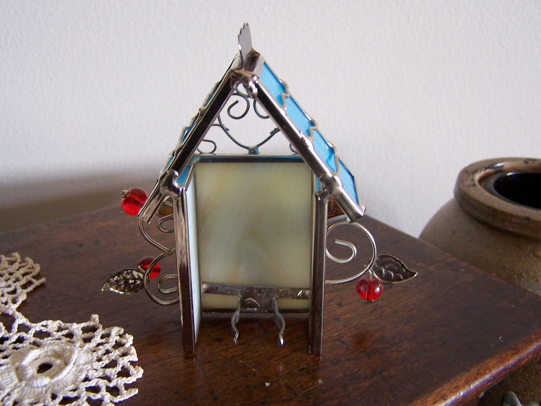 Stained Glass Bird House Night Light Beautiful Nite Lite