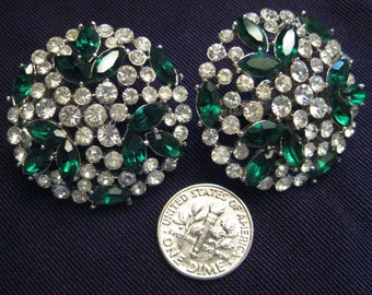 Vintage TRIFARI Emerald & White Rhinestones Earrings Clip-On