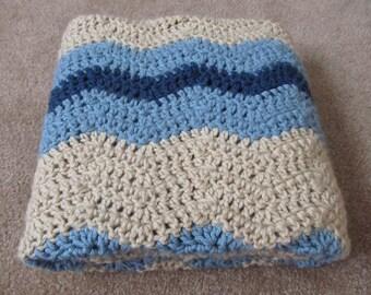 Crochet Baby Blanket Blue Ripple