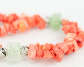 RESERVED beaded coral necklace and earrings / green iced crystal and red coral summer necklace