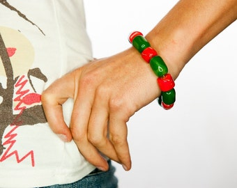 Chunky Bracelet, Red Coral Jewelry, Gemstone Bracelet, Gift For Mom, Green And Red Bracelet, Gift For Her, Large Beads Bracelet, Oversize