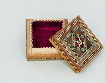Vintage Jewelry Box, Wooden Moroccan Jewelry Box, Christmas Gift Idea For Her, Gift For Mother, Small Jewelry Box, Handmade Jewelry Box