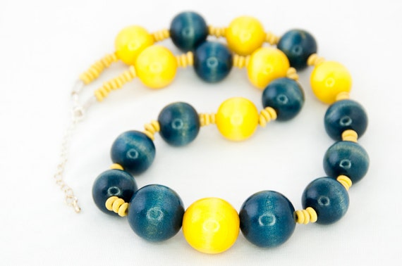 Wooden Chunky Necklace Yellow and Blue / Wooden Beads Necklace