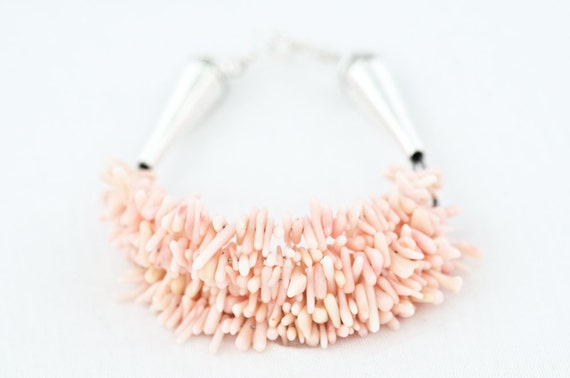 Coral Beaded Bracelet Pale Pink Magnolia Spiky Coral Beads
