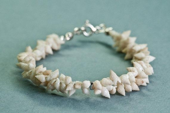 SeaShell Bracelet Beaded Mermaid Upcycled Ivory Creamy Bracelet