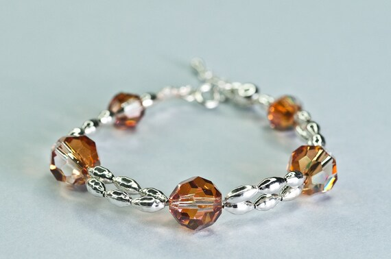 Swarovski Crystal Bead Bracelet Honey Orange Glamour Elegant OOAK Bracelet