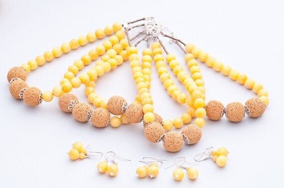 RESERVED/ CUSTOM ORDER Set of Yellow beaded lava&marble necklaces / earrings