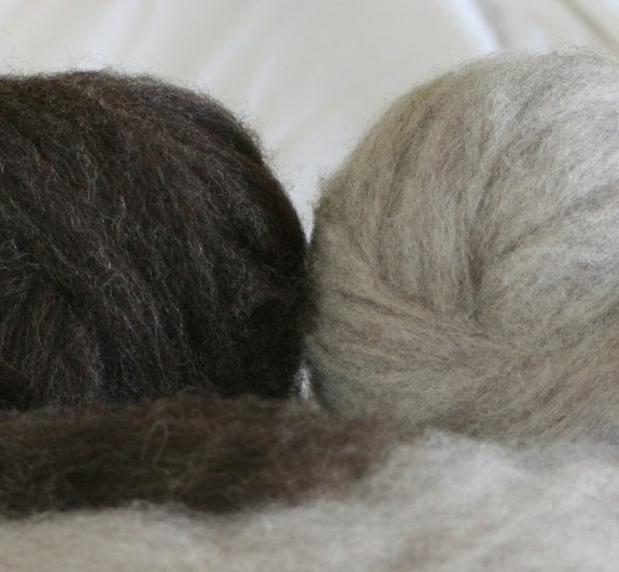 Homegrown Jacob Wool Silver & Charcoal Grey Roving 2oz each