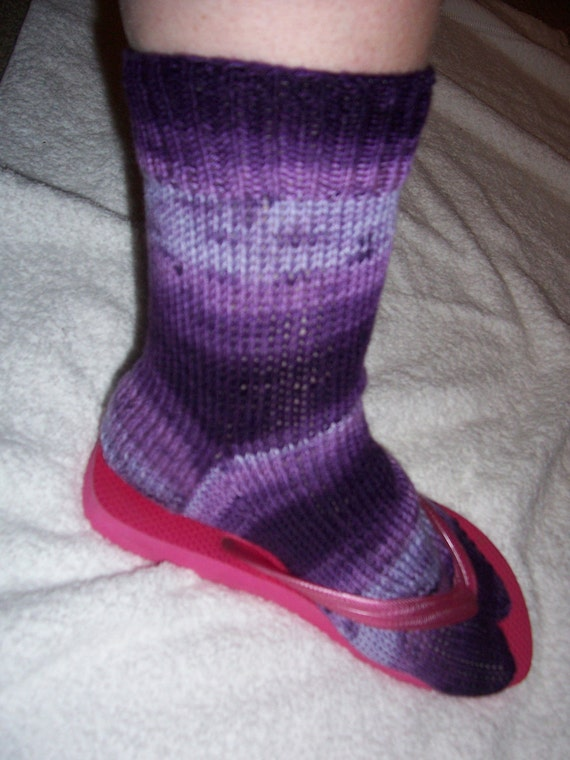 Knitting Pattern For Sandal Socks : Flip Flop socks Sandal socks hand knit by HodgepodgeCreationz