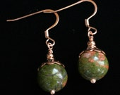 Unakite and Copper Earrings