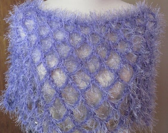 Crochet poncho fun furn yarn lavender