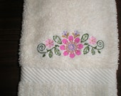 Embroidered Cream Colored Hand Towel Pink Flowers