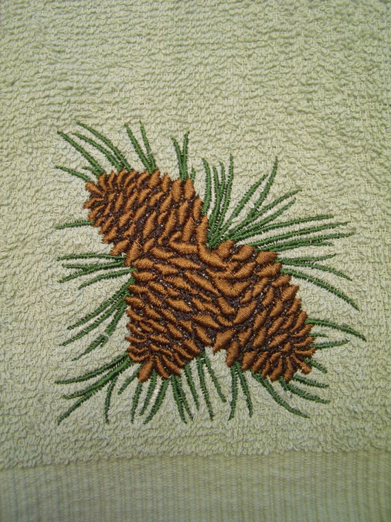 Pinecone Cluster Embroidered Green Hand Towel Country Home Cabin ON SALE