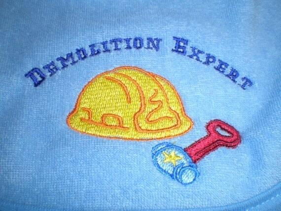 Baby Bib, Blue, Hard Hat Hammer, Demolition Expert Saying, Embroidered Bib, Baby Shower Gift Idea for Baby Boy