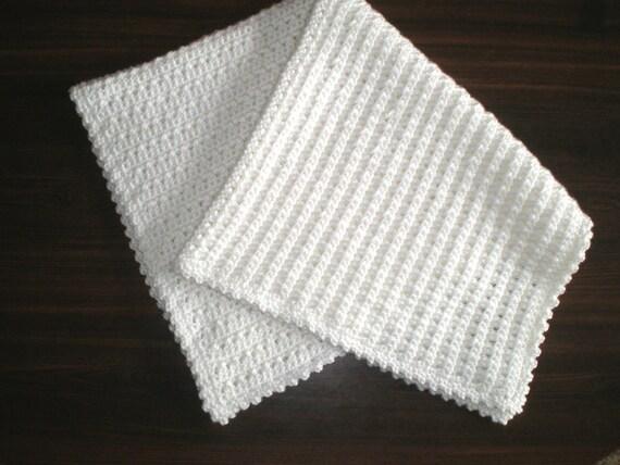 Christening - Baptism Blanket Handmade Soft Crocheted White Baby Afghan