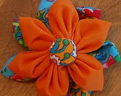 Double Fabric Flower Hair Clip in Teal and Orange Flowers