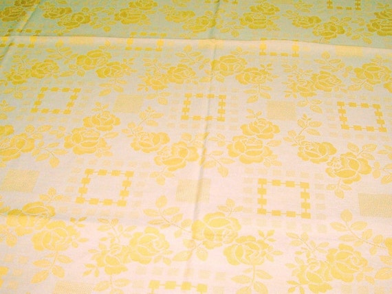 Vintage Yellow Gold Rose Floral Damask Cotton Blend Tablecloth, Circa 1950's.