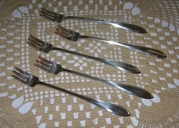 5 Vintage Rogers Silverplate Cocktail/Seafood Forks, Lufberry Pattern, Circa 1915