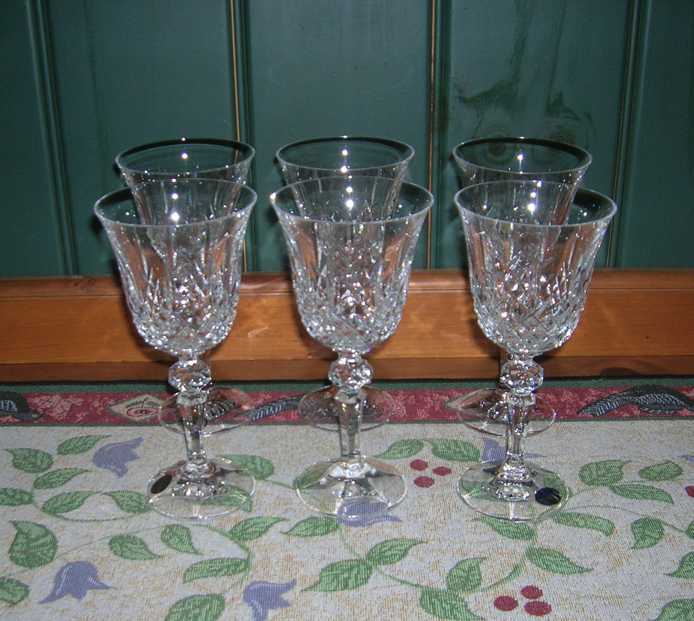 6 Vintage Bohemia Crystal Wine Glasses Marquis Pattern Circa