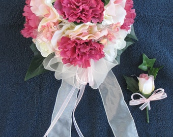 bouquet, wedding, ivory, mauve and boutineer