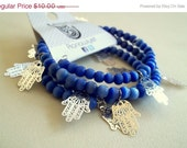 25% OFF Multi Strand Bracelet - Beads & Fatima's Hand Charms - Blue - Silver Plated