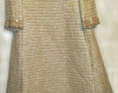 CYBER MONDAY Vintage 1960's Dress - Evening Gown Gold & Silver Lame