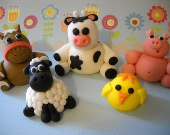 Barn Yard Friends -  Edible Farm Animals Cake Topper Set of 5