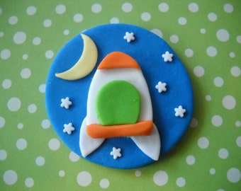 Rocket Ship Edible cake and Cupcake Toppers Set of 12