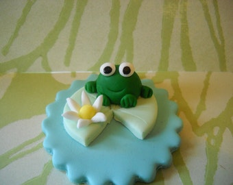 Frog and His Lilly Pad Edible cake and Cupcake Toppers Set of 12