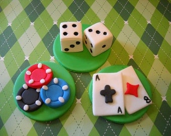 Casino Cupcake Toppers - Edible Fondant Toppers - Set of 12