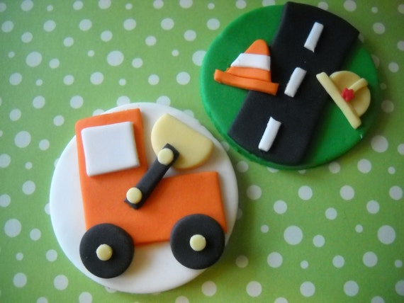 Edible Construction Cake and Cupcake Toppers Set of 12