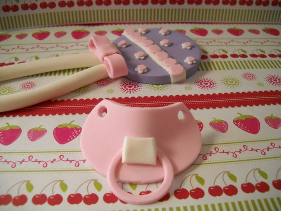Baby Rattle Cake Decoration : Baby Rattle and Pacifier Edible Gumpaste Cake Toppers