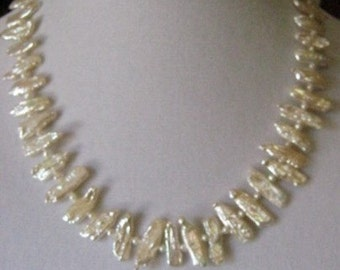White Stick Pearl and Gold Filled Choker