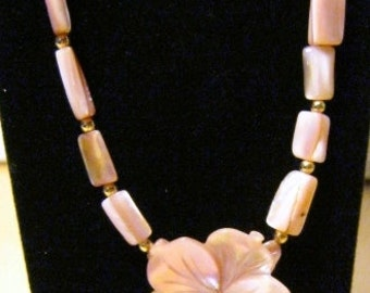 Pink Plumeria Flower and Shell Beads Necklace