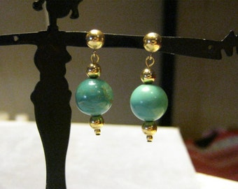 Turquoise And Gold Filled Earrings
