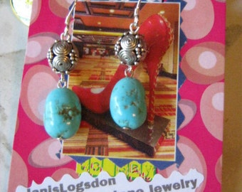 Turquoise Nugget and Thai Silver Earrings