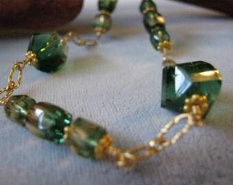 Green Quartz Crystal Necklace