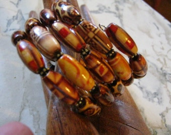Wooden Beads and Sterling Silver Bohemian Bracelet
