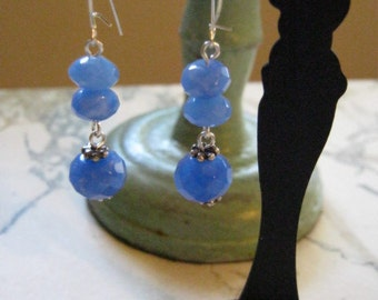Blue Sapphire And Sterling Silver Earrings
