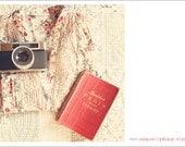 paris camera macaron whimsical photo printable note cards - france, enchanting, enchanting, cream
