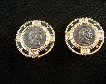 Bold Swarovski Roman Medallion Earrings